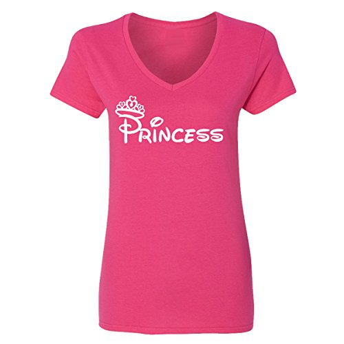 Adult Disney Princess Design V-Neck T-Shirts for Women(Heliconia,Large) -