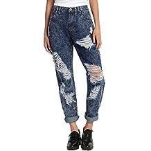 TheMogan Women's Distressed Ripped Acid Denim Crop Boyfriend Straight Leg Jeans