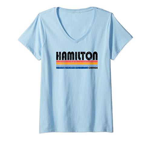 (Womens  Vintage 70s 80s Style Hamilton, Ontario, Canada V-Neck T-Shirt )