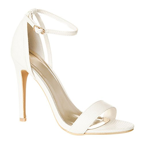 White Con Lizard Tacón Zapatos Mujer Miss Diva HaXxE