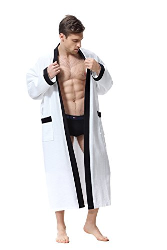 Men's Robe - White/Black Kimono Waffle Spa Bathrobe, Over Knee Length Unisex (X-Large)