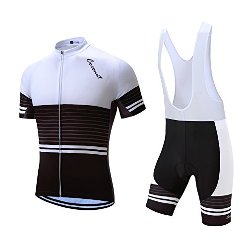 Coconut Pro Team Men's Cycling Jersey Bib Shorts With 3D Padded (X-Large, White/Black) ()