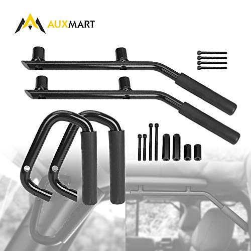 AUXMART Grab Handles Kit Front & Rear Grab Bars for Jeep Wrangler JK 2DR/4DR 2007-2017 Solid Steel (Black)