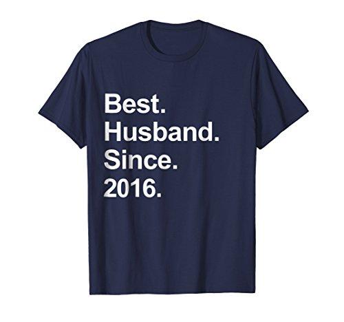 Mens 2nd Wedding Anniversary Gifts, Best Husband Since 2016 Shirt XL Navy -