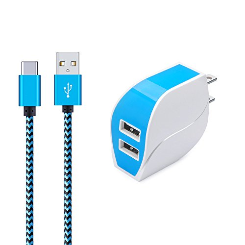 Wall Charger, Ailkin Dual USB Port Travel Adapter with 6FT Nylon Braided USB C Charge Cable Compatible with Samsung S8 S8 Plus, MacBook, LG LG5 LG6 V20, Oneplus 2, Nexus 5X/6P, and More USB C Devices