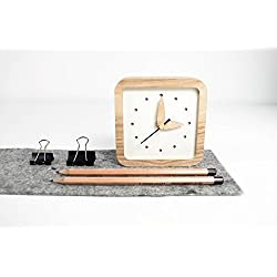 Small Wooden Desk Clock - Unique Oak Wood Clock - Square Shape Table Clock - White Table Clock - Exclusive Business Gift With Logo