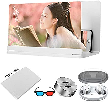 XYHWZY Phone Screen Magnifier Foldable with 3D Glasses and Bluetooth Earphone Protect Eyes Zooms 3-5 Times HD Anti-Fatigue Movie Video Amplifier 18//20