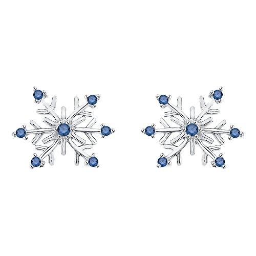 KATARINA Blue Diamond Snowflake Earrings in 14k White Gold (1/8 - Gold Earrings Snowflake Diamond