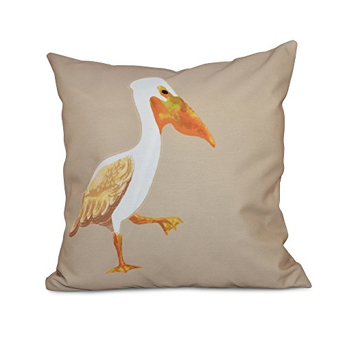 E by design 16 x 16 inch, Pelican March, Animal Print Pillow, Taupe/Beige by E by design