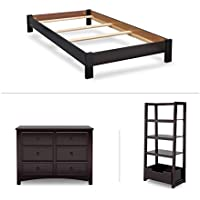 Delta Children Summit Twin Bedroom 3-Piece Set (Twin Platform Bed, Dresser, Ladder Shelf), Dark Chocolate