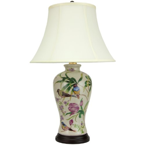"ORIENTAL FURNITURE 29"" Floral White Porcelain Lamp"
