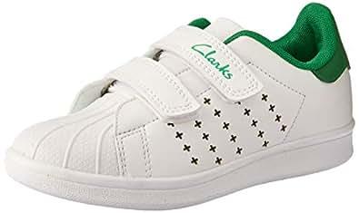 Clarks Boys' Decker JNR Trainers, White/Green E, 7 AU