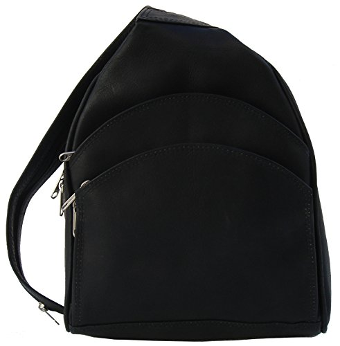 (Piel Custom Personalized Leather Three Pocket Sling Bag in Black)