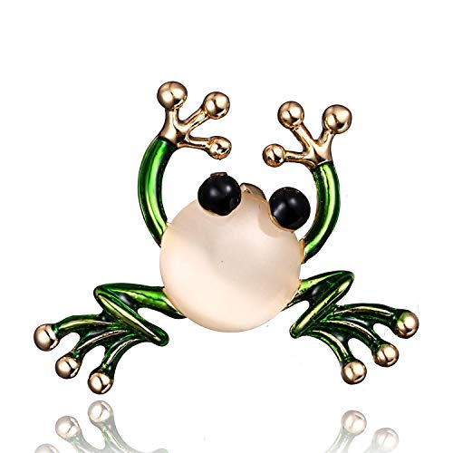 AILUOR New Unique Green Eyed Frog Brooch Pin, Vintage Gold-Tone Rhinestone Enamel Crown Toad Insect Animal Lapel Pins for Women Men (White) ()