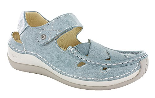Wolky Comfort Mary Janes Venture 378 Aqua Blue Leather
