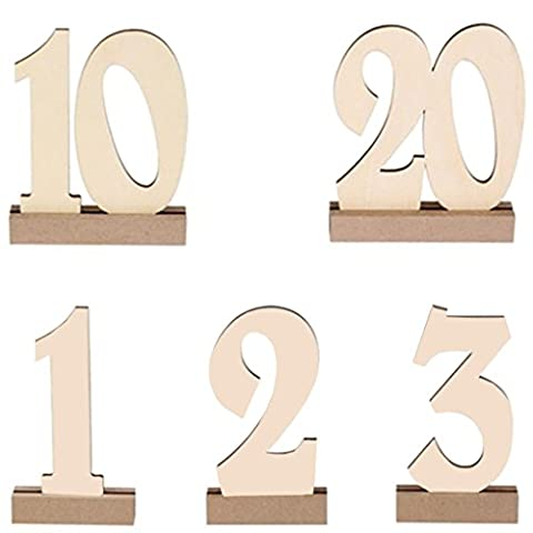 Alinay Wooden Table Numbers with THICK STURDY VINTAGE Holder Base for Wedding or Catering Decoration, 1 to (Rectangular Table Base)