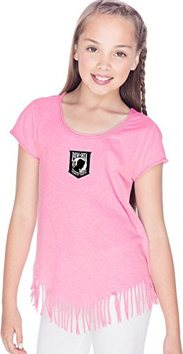 (Buy Cool Shirts Pow MIA Patch Small Print Girls Fringe T-Shirt, Pink Flash,)