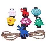EOZY Ciervo Figura Nieve Navidad Pinza De Madera Para Ropa Papel Porttarjetas Pelo Cabello Azul Verde Rojo Violeta Amarillo Blanco 3.5*3cm 6pcs