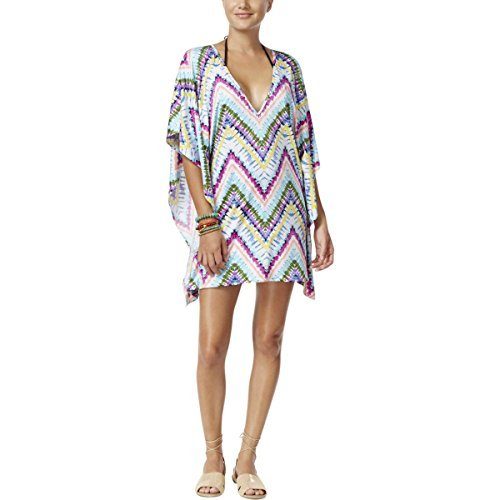 Price comparison product image Bar III Womens Tie-Dye V-Neck Caftan Swim Cover-Up Blue M