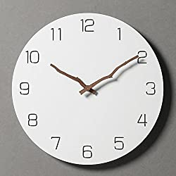 Simple Modern White Round Wooden Wall Clock 11 inch Non-ticking one AA battery powered (Arabic with Bough Hands)