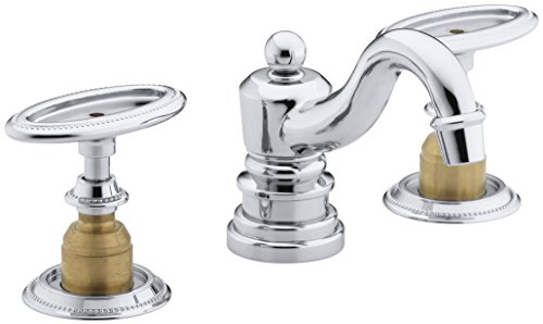 KOHLER K-280-9B-CP Antique Widespread Bathroom Sink Faucet, Polished Chrome (Ceramic Skirts Not Included)