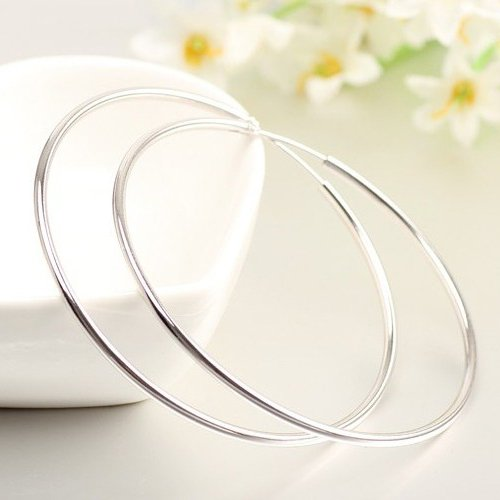 IDoy 925 Sterling Silver Hoop Earrings - Simple Polished Large Round Earrings for Women 50mm by IDoy (Image #2)