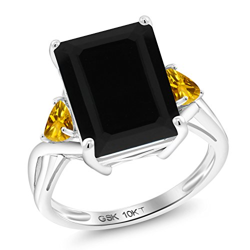 - Gem Stone King 5.40 Ct Octagon Black Onyx Yellow Citrine 10K White Gold Ring (Size 6)