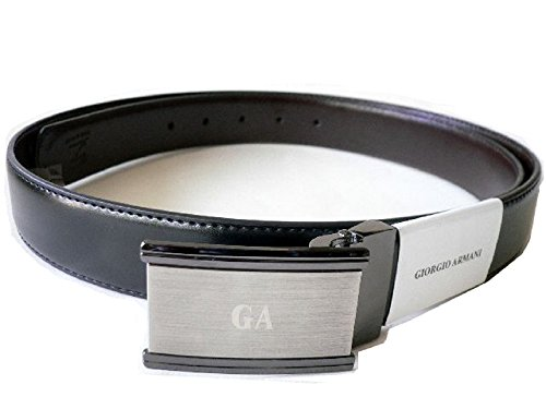 Giorgio Armani Men's Calf Skin Leather Reversible Belt Black Brown. Made in Italy - Brown Calfskin Belt