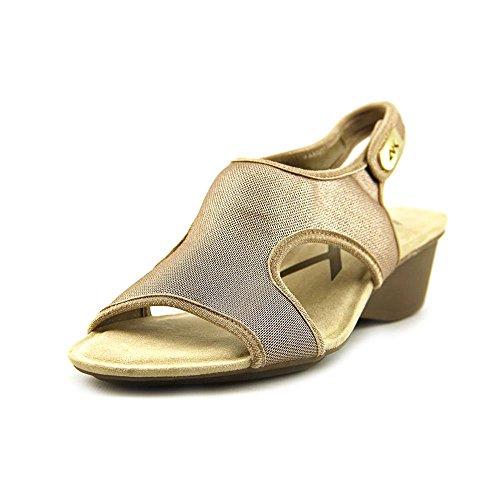 Anne Klein Sport Women's Olimpia Fabric Wedge Sandal,Gold,7.5 M US