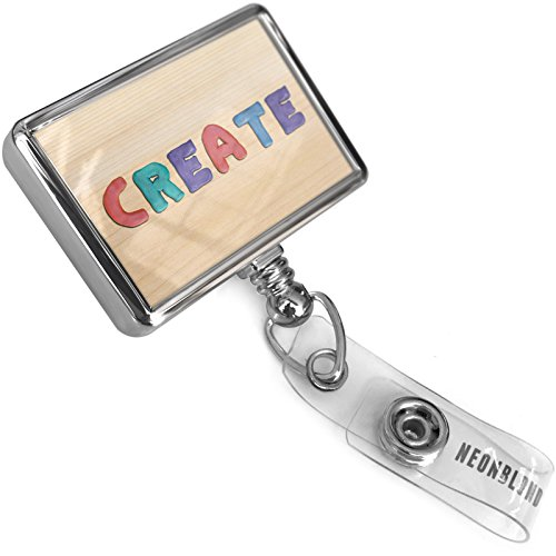 Retractable ID Badge Reel Create Colorful Kids Clay with Bulldog Belt Clip On Holder Neonblond (Clays Belt)