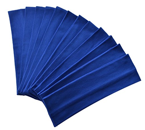 1 Dozen 2.5 inch Cotton Soft and Stretchy Headbands Funny Girl Designs (Official Funny Girl Royal Blue)