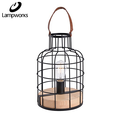 Lampworks Table Lamp Wood Base Bedside Lamp Black Metal Cage Desk Lamp Vintage Artificial Leather Handle Light for Bedrooms Living Room Kitchen(Bulb Not Included) (Iron Leather Table Lamp)