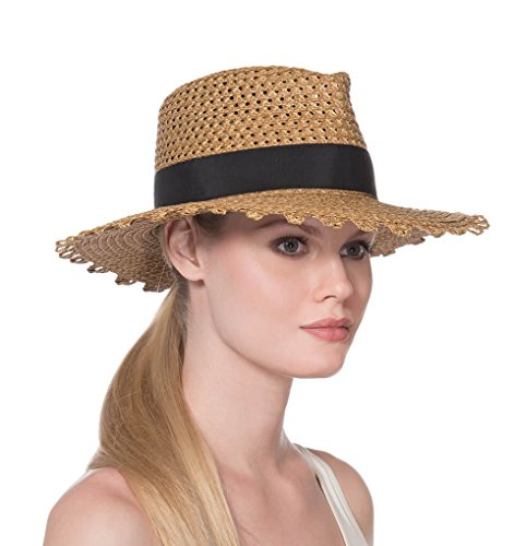 Eric Javits Fashion Designer Women's Headwear Hat - Squishee Cannes - Natural Black by Eric Javits