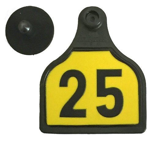 Cattle Ear Tags (Cattle Time Calf Ear Tags Numbered 1-25, Black & Yellow, 25 Count)