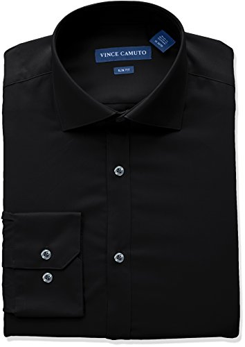 (VINCE CAMUTO Men's Slim Fit Spread Collar Solid Dress Shirt, Black, 15 32/33)