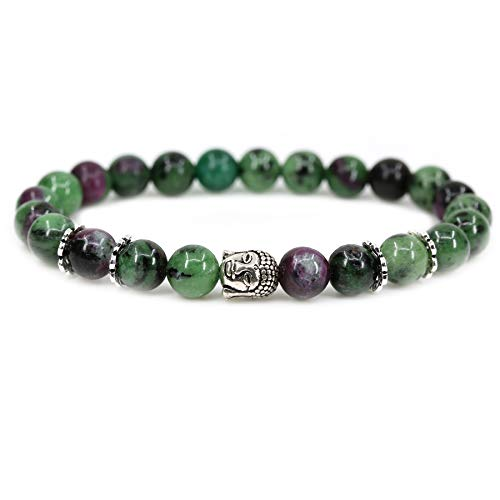 Natural Ruby in Zoisite with 925 Sterling Silver Buddha Head Gemstone 8mm Round Beads Stretch Bracelet 7