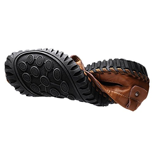 breathable non sandals beach men's leather shoes slip summer shoes Brown new casual 2017 UwABqH