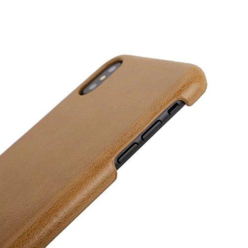SRY-Mobile Phone Cases & Covers Funda iPhone X, Estilo retro Funda protectora ultra fina de cuero genuino para el iPhone X (2017) ( Color : Dark Brown ) Black