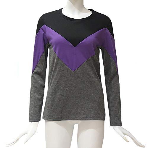 T Lunghe ❤ Viola Maniche Donna Femminile A shirt Autumn Da Top Vototrade Contrasto Contrasto Holiday Cqpngw44