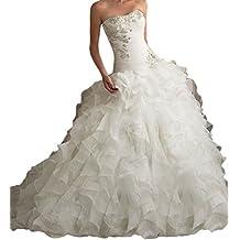 PHSOAR Women's Organza Sweetheart Neckline Cascading Ruched Wedding Dress