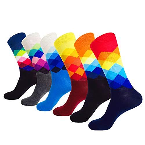 WEILAI SOCKS 6 Pack Mens Hit Color Geometry Cotton Print Luxury Antibacterial Casual Dress Socks (Color 13)