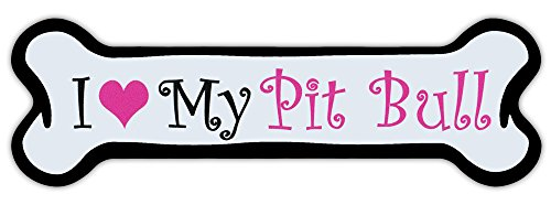 Pink Dog Bone Shaped Magnet - I Love My Pit Bull (Pitbull Terrier) - Cars, Trucks, Refrigerators ()