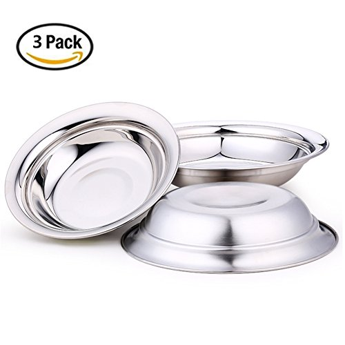 Nizzco 7.9 inch Stainless Steel Round Plate Set for Camping Outdoor,Serving Tray,Dish Plate,Kitchen Dinner Plates,Pack of 3