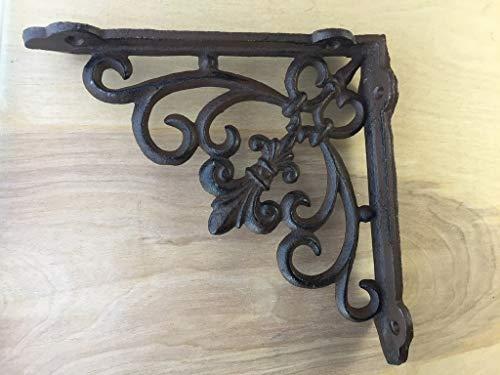 2 Pack Ornate Cast Iron Fleur de lis Antique Style Brown/Black Shelf Bracket & Plant Hanger Perfect for Shelves Around The House 1.5-Inch x 7.5-Inch x 7.5-Inch CI152