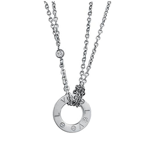 - Baoli Women's Titanium Steel Muti Layer Double Chain Slide Love Round Loop Pendant Necklace