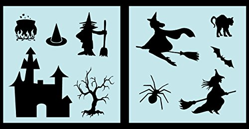 Auto Vynamics - STENCIL-WITCHSET01-10 - Detailed Witches & Witchcraft Stencil Set - Multiple Witch Designs w/ Cats & Bats & More! - 10-by-10-inch Sheets - (2) Piece Kit - Pair of Sheets -