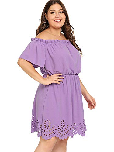ROMWE Women's Plus Size Off The Shoulder Hollowed Out Scallop Hem Party Short Dresses Purple 2X Plus (Best Dress For Short Plus Size)