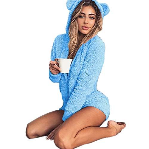 Missfamo Ladies Cute Long Sleeve Sleepwear Fleece Hooded Cozy Sherpa Romper Fluffy Pajamas Short One Piece Jumpsuit (L, Sky Blue)