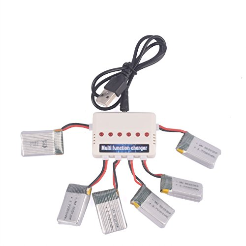 YouCute 6PCS 300Amh battery and 1to6 charger for FQ777 FQ17W,Eachine E55,Wonder RC Chopper,Sky Walker 1306,JJRC H22 spare pasrts (6+1)