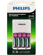 Carregador de Pilhas Philips com 4 Pilhas Aa Recarregáveis 2450mAh SCB2445NB Bivolt Branco
